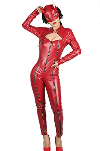 Overall Sexy Cosplay Kostüm PU Maske Rot Catsuit Frauen Voll Bodysuit für Halloween Verrücktes Kleid Outfit ()