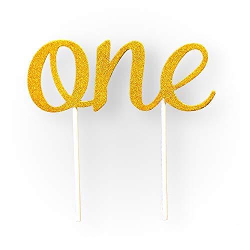 Goldfarbener Tortenaufsatz zum 1. Geburtstag, doppelseitig, glitzernd, Zahl eins, für ein Jahr, Party-Dekoration für Mädchen und Jungen, Paare und Heirat, 1. Jahrestag -