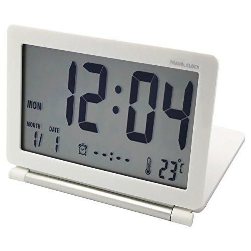 EASEHOME Reloj Despertador Digital de Viaje, Portátil Relojes Despertadores Digitales Repetición Snooze Reloj Alarma Silencioso con Temperatura Calendario Incluye Bolsa de Cuero, Blanco
