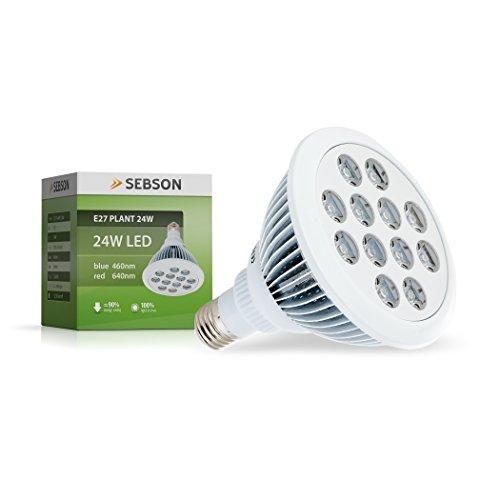 SEBSON Pflanzenlampe LED E27, 24W, 460/640nm (blau/rot), Wachstumslampe für Pflanzen und Gemüse (Voll-spektrum-lampen-set)