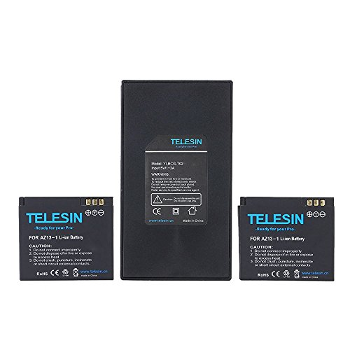 TELESIN double chargeur + batterie Pack 2pcs 3.7V 1010mAh Li-ion pour caméra de sport Action xiaomi Yi Xiaoyi