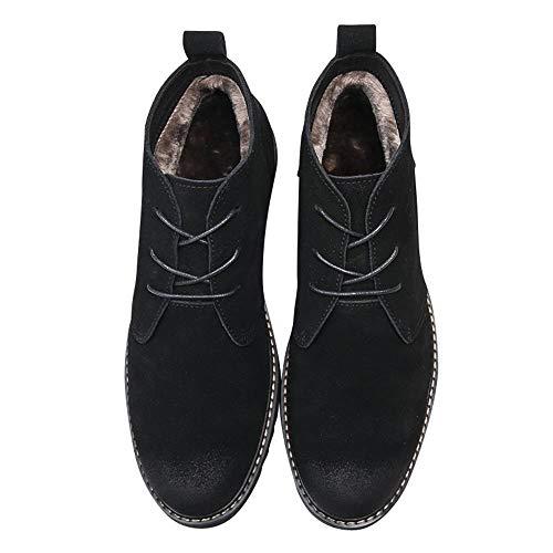 Shengjuanfeng Neue High-Top-Schuhe Herren Wildleder Martin Stiefel Herrenschuhe Casual Tooling Retro Herrenschuhe (Farbe : Black with Velvet, Size : 43) Black Velvet Sneakers