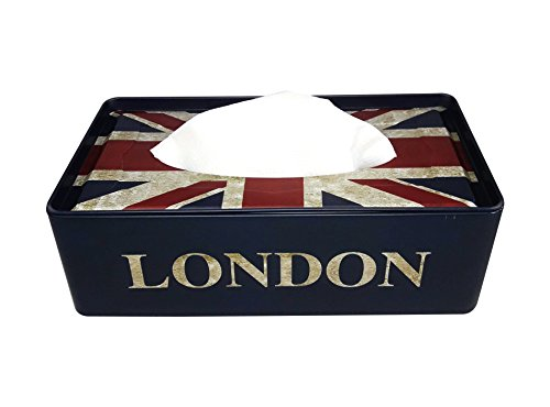 1 Compartments TIN Tissue Box Holder (LONDON BLACK)