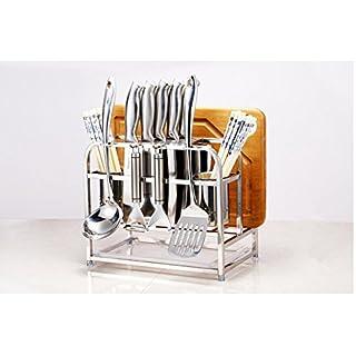 Messer Block Messer Halter Edelstahl Utensilienhalter mit Haken rostfrei, Schneidebrett Organizer Backblech Tablett Storage Rack