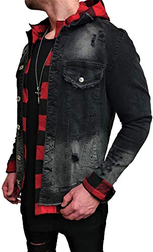 Unbekannt Kapuzen Jeansjacke Denim Jeans Jacke Kapuzenjacke Hoodie Herren Grau Black Biker Motorrad Designer Blouson Sweat Men Leather Flieger Wende Piloten Jacket Black Slim fit New (M, Schwarz)
