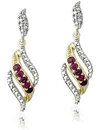 18K Gold Plated Ruby Gemstone & Diamond Accent Swirl Dangle Earrings