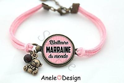 Bracelet Meilleure Marraine du monde - rose noir bronze cabochon cadeau