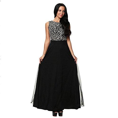 GJX Europe et les États-Unis Robe élégante Chic brodé col rond sans manches à taille haute Mini robe en mousseline Black