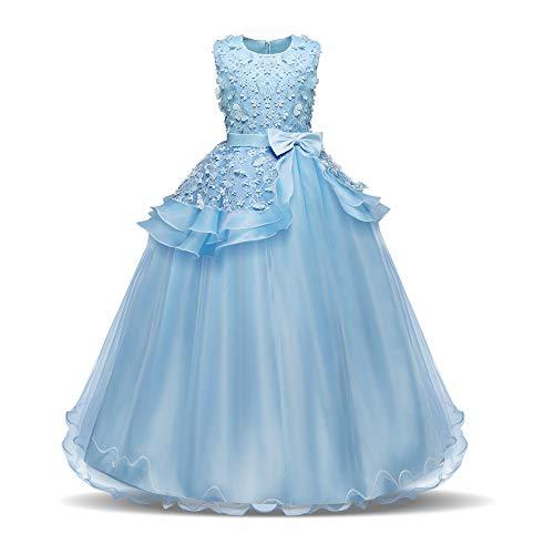 Prinzessin Kleider Mädchen Blumen Sleeveless Hochzeits-formales Kleid Prinzessin Wedding Brautjungfern-Partei-Kleider Geburtstags-Festzug-Abend-Abschlussball-Ball-Kleid für Kinder 4-15 Jahre Kleine Mä