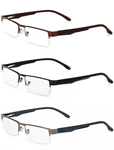 LANOMI Lesebrillen Metall Sehhilfe Augenoptik Halbrand Halbrandbrille Brille Lesehilfe für Damen Herren von 1.0 1.5 2.0 2.5 3.0 3.5 4.0 (3 Farben Set (Schwarz+Braun+Grau), 2.0)