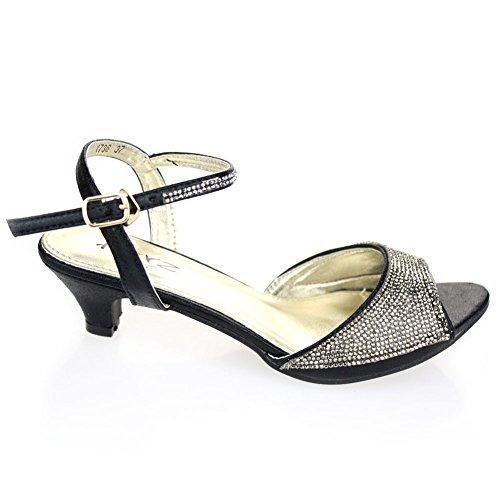 Aarz Femmes Mesdames Soirée Party Mariage Low Kitten Heel Peep Toe Diamante Sandal Chaussures Taille (Or, Argent, Champagne, Noir, Rose) Noir