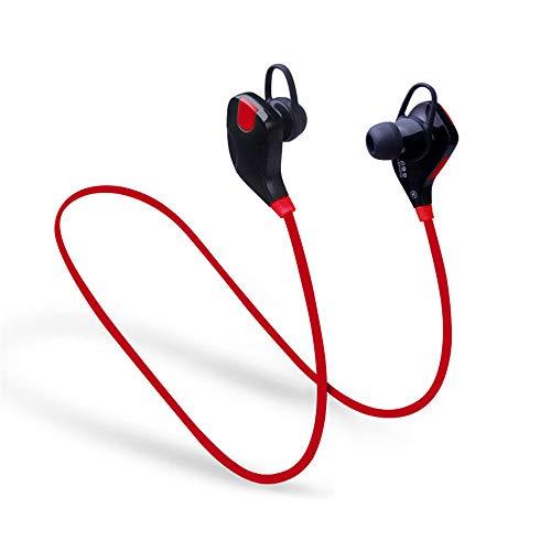 WANGOFUN Kabelloser Bluetooth-Kopfhörer Noice Cancelling Earbuds Earplug Headphones für Runner Headset mit MIC Sweatproof Waterproof für sportliche Aktivitäten,Red (Kabelloser Kopfhörer Für Läufer)