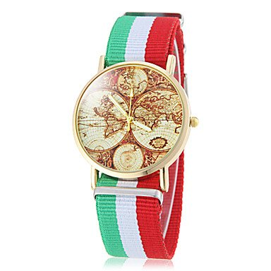 Schöne Uhren, Unisex Earth Map Muster National Style Stoff-Band Quarz-Armbanduhr (verschiedene Farben) ( Style : Italien )