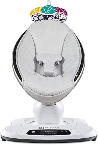 4moms Babywippe mamaRoo4 Babyschaukel elektrisch mit Musik automatische Schaukelwippe mit Spielbogen, hellgrau