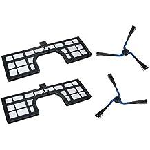 Set 2 x filtro HEPA + 2 x cepillos cepillos laterales Izquierda/Derecha para Samsung
