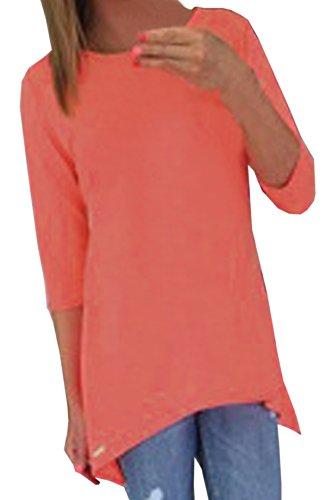 Frauen Mode T-shirt Tops pulli Freizeit Rundhals 3/4-Arm blusenbody Hemden Einfarbig Loose Oberteile sweatshirt