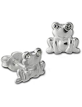 Teenie-Weenie Kinder Ohrring Frosch weiß Silber Ohrstecker Kinderschmuck TW SDO8022W