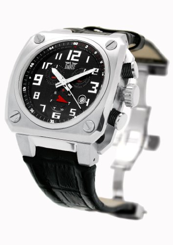 Davis 'XXL' Men's Analog Quartz Watch with Chronograph and Black Leather Strap - 1360