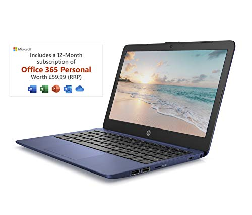 HP Stream 11-ak0007na 11.6 Inch Laptop (Blue) (Intel Celeron N4000, 2 GB RAM, 32 GB eMMC, Office 365 and 1 TB OneDrive Cloud Storage, 1 Year Subscription Included, Windows 10 Home)