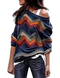 Rosennie Damen Pulli Pullover Elegant Cold Shoulder Bluse Blumendruck Jumper  Fashion Strickpullover Sweatjacke Frauen Geometrische Streifen 6b92a61897