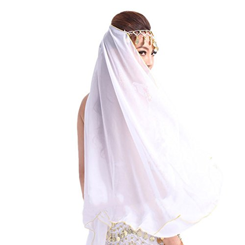 Kostüm Frauen Genie - Bauchtanz Kostüm Gesichtsschleier Metall Coin Headwear Chiffon Wrap Schal