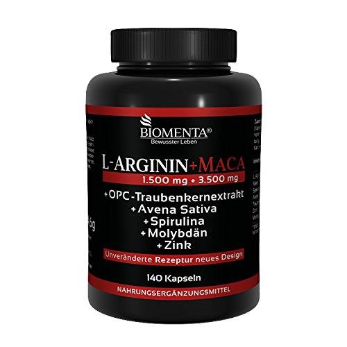 BIOMENTA L-ARGININ + MACA HOCHDOSIERT | AKTIONSPREIS!!! | 1.500 mg Arginin + 3.500 mg Maca + OPC + Avena Sativa + Spirulina Algen + Zink | Für aktive Frauen & Männer | 140 Maca-Kapseln - Premium Qualität (Potenz Natürliches Vitamin)