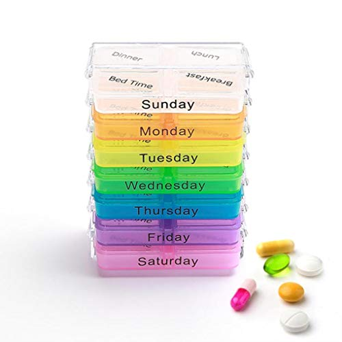 Yongse KCASA KC-JS0703 Portable Pill Case Organizer Weekly Travel Medicine Box Tablets Case Holder