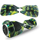 ABBY Coque Silicone Protection Hoverboard 6.5 Pouces Gyropode Trottinette électrique 2 Roues Scooter Overboard (armée Verte+Zipper)