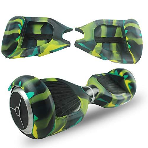 ABBY Hoverboard Hülle Silikon Schutzhülle für 6,5 Zoll 2 Rader Smart Self Balancing Elektro Scooter Cover (Camo grün+Reißverschluss)
