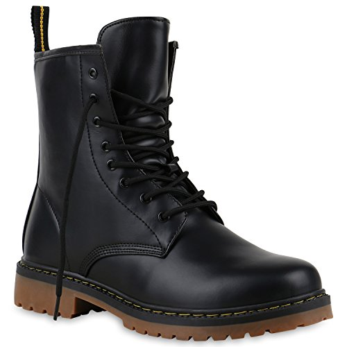 Derbe Damen Stiefeletten Worker Boots Profilsohle Camouflage Stiefel Schnür Animal Print Schuhe 126329 Schwarz Braun 39 Flandell