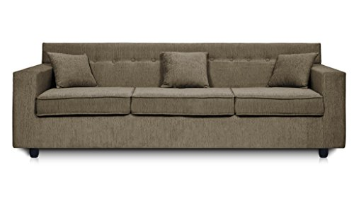 Dolphin Solitaire Fabric 3 Seater Sofa Set-Grey