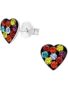 Sparkly Mehrfarbig Love Herz Ohrringe–Sterling Silber