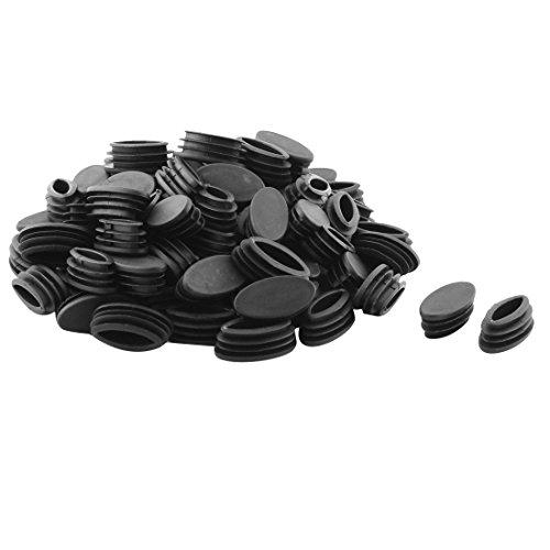 sourcing map 80Stk. Stuhlkappen Möbel Tisch Fuß Plastik oval Rohr Einsatz Ende Kappe schwarz 20 x 40mm