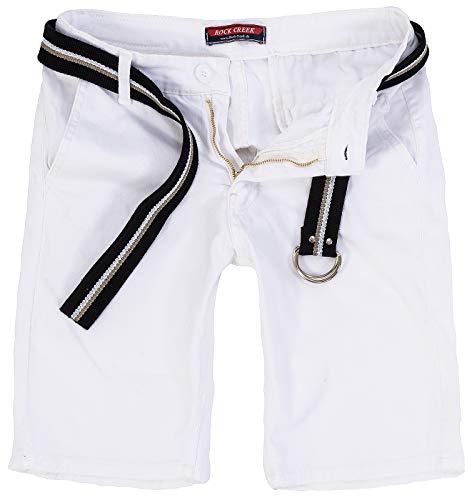 Rock Creek Herren Chino Shorts Hose Kurz Chinoshorts Inkl Gürtel Männer Sommer Bermuda Stretch Rc-2133 30 Weiß -