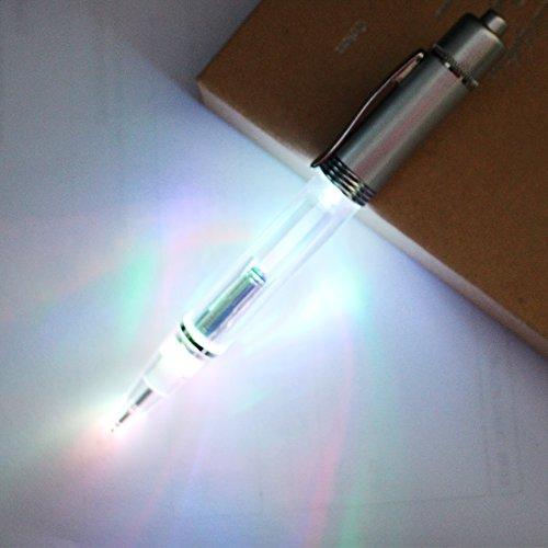 Preisvergleich Produktbild JASON YUEN 2PCS PACK Pen-Licht Kugelschreiber Metall 2 in 1 LED Light up Pen mit extra Nachfüllen und Batterien in einem Geschenkbox -Schreiben und lesen in Darkness Night (Bunte Lichter)