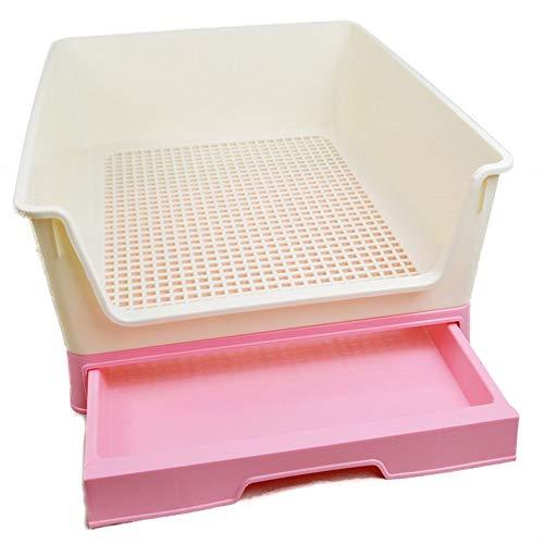 DAN Perros Bandeja,Bandeja Sanitaria De Adiestramiento Inodoro Interior para Perros Aseo Mascotas PláStico(54.5 X 44 X 22.5 Cm),Pink
