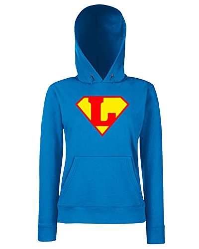 Cotton Island - Felpa Donna Cappuccio T0662 L SUPERMAN fun cool geek, Taglia M
