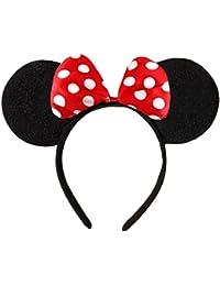 Noir avec le rouge ou rose Bow & Blanc Pois Minnie Mouse Ears Disney Déguisements bande de cheveux