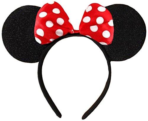 Rot (Minnie Mouse Alice Ears)Ohren Schwarz mit Rot u. Weiße Tupfen Satin Bogen Minnie Maus Disney Kostümgeschäfte Haarband