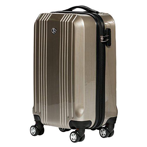 FERGÉ® Handgepäck-Koffer leicht CANNES Bordgepäck-Koffer Hartschale | Reisekoffer Kabinentrolley mit 4 Zwillingsrollen (360°) für Ryanair, Easyjet, Lufthansa etc | Koffer champagner-metallic