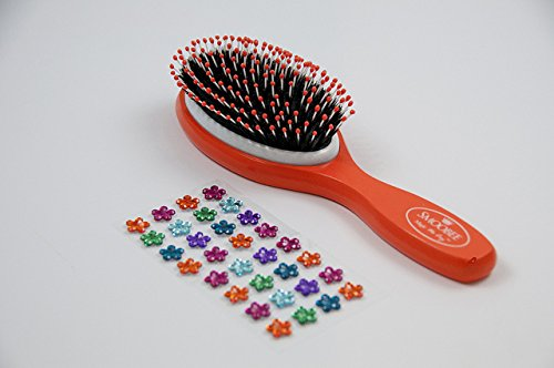 Smoobee Detangling Wooden Hairbrush - Neon Orange, with Rainbow Flower Gem Stickers - (22cm Height x 6.5cm Length x 4cm Width) 8.5\\