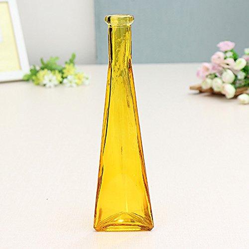 Bluelover Farbe Klar Mini Glas Vase Zakkz Flasche Glas Ornamente Blume Arrangieren Home Decor-Gelb -