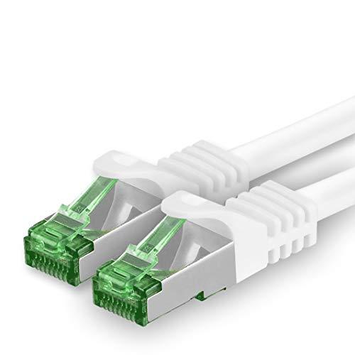 1aTTack.de 626543 Cat7 Cat 7 Kabel Netzwerkkabel 5m Weiß - 1 Stück - Cat.7 PoE+ LAN Kabel Rohkabel 10 Gb/s (S-FTP PIMF) Set Patchkabel mit Rj45 Stecker Cat.6a 1 x 5 Meter Weiß -
