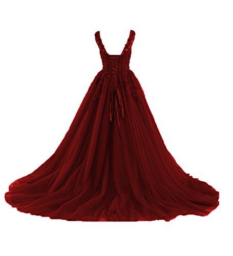 O.D.W Appliques Spitze Lange Burgund Rot Mehrfarbig Gotisch Hochzeitskleider Vintage Brautkleider (Burgund, 48) (Brautsträuße Burgund)