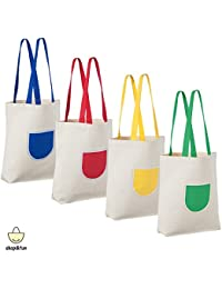 Canvas Tote Bag (4 Pack) | Reusable Tote Bags For Women | Canvas Bags Bulk For Grocery, Shopping, Beach Or School...