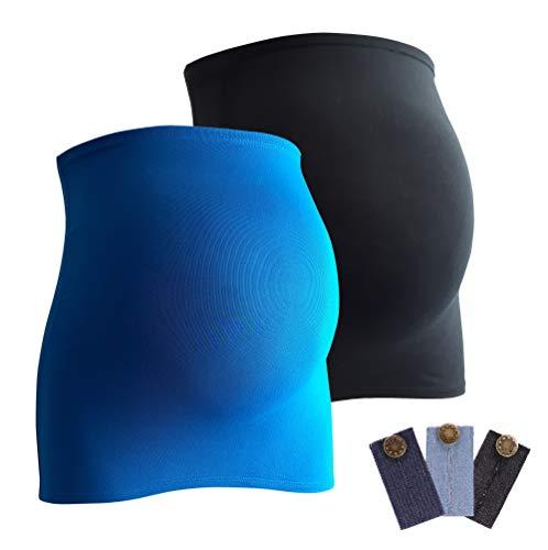 Mamaband Bauchband Doppelpack + gratis Hosenerweiterungen (3 Stück aus Jeans) - Bauchbänder sind von der Marke (R), Aquablau/Schwarz, 32-38