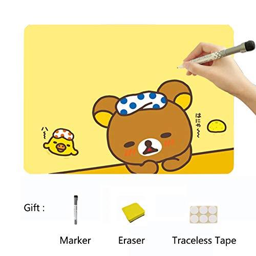 XM&ZF Cartoon Tragen Magnetisches Kühlschrank Aufkleber,Message Board Planer Flexibel Whiteboard Schreiben von Boards Magnetplatte Memo Für küche(9 x 13'')-Gelb