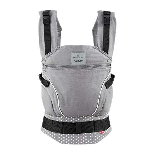 Manduca Bellybutton - Mochila portabebés gris con cruces, con cinturón lumbar y longitud de la espalda regulable. 100% algodón orgánico. Para bebés de 3,5kg hasta 20kg, color gris