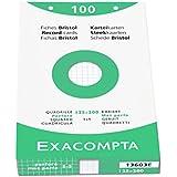 Exacompta - Réf 13603E - Un Étui de 100 Fiches Bristol 205 g Petit Carreaux Perforé Blanc 12,5x20 cm vendu à l'Unité