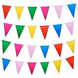 Amaza Bandierine Colorate Triangolo Bunting Plastica Bandiera Impermeabile Festa da Esterno Decorazioni 10m (33 Piedi)